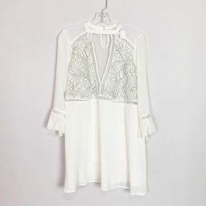 Tobi white lace neck cutout bell sleeve dress S